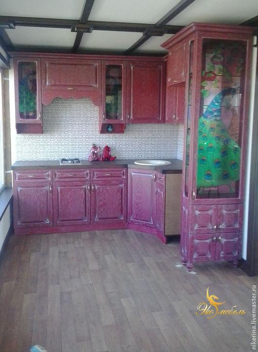 """Мебель ручной работы. Ярмарка Мастеров - ручная работа. Купить Бордовая  кухня """"Павлины"""". Handmade. Бордовый, цветная кухня, павлины"""