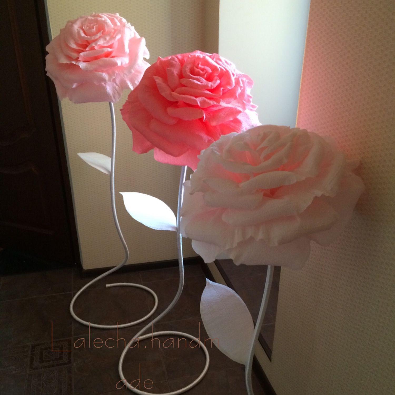 Гигантские розы из креповой бумаги своими руками мастер класс 87
