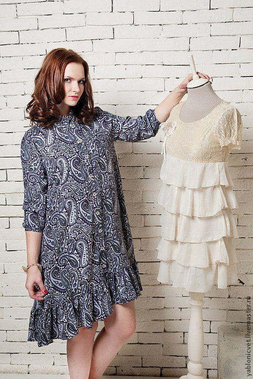 Платья ручной работы. Ярмарка Мастеров - ручная работа. Купить платье-рубашка. Handmade. Синий, платье, теплое платье