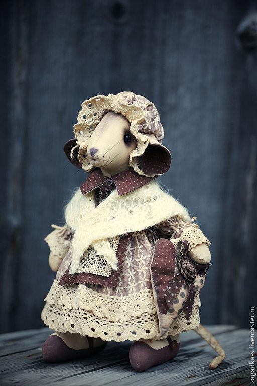 Ароматизированные куклы ручной работы. Ярмарка Мастеров - ручная работа. Купить Мышка в шальке.. Handmade. Коричневый, винтажный стиль