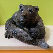 Для дома и интерьера handmade. Livemaster - original item Bear with fish from natural Ural ornamental stone Calcite. Handmade.