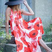"""Одежда ручной работы. Ярмарка Мастеров - ручная работа Длинное платье из сатина """"Маковое поле"""". Handmade."""