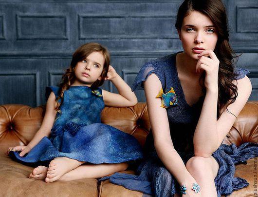 Одежда для девочек, ручной работы. Ярмарка Мастеров - ручная работа. Купить Валяное платье «Тихая гавань». Handmade. Синий