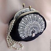 Сумки и аксессуары handmade. Livemaster - original item The PEACOCK EVENING purse with clasp, velvet, beading, embroidery. Handmade.