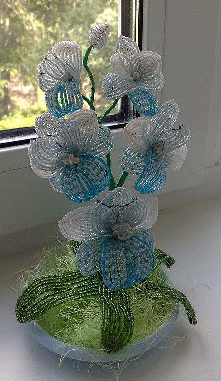 """Интерьерные композиции ручной работы. Ярмарка Мастеров - ручная работа. Купить Орхидея """"Голубая лагуна"""". Handmade. Бисер, рубка"""