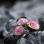 """Украшения ручной работы. Ярмарка Мастеров - ручная работа Комплект колец 18,5""""Розовые розы""""4. Handmade."""