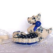 Для дома и интерьера handmade. Livemaster - original item Dog. Interior decoration, needle box, blue, beige. Handmade.