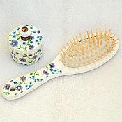 Для дома и интерьера ручной работы. Ярмарка Мастеров - ручная работа Шкатулка и расческа Фиолетовые цветы на белом. Handmade.