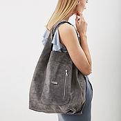 Сумки и аксессуары handmade. Livemaster - original item Shopper Bag Suede Gray Bag Large Bag String Bag T-shirt Bag. Handmade.