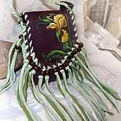 Classic Bag handmade. Livemaster - original item small leather handbag with a yellow iris. Handmade.