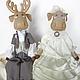 Игрушки животные, ручной работы. Ярмарка Мастеров - ручная работа. Купить Лоси. Свадебная пара. Грунтованный текстиль. Handmade. лосики
