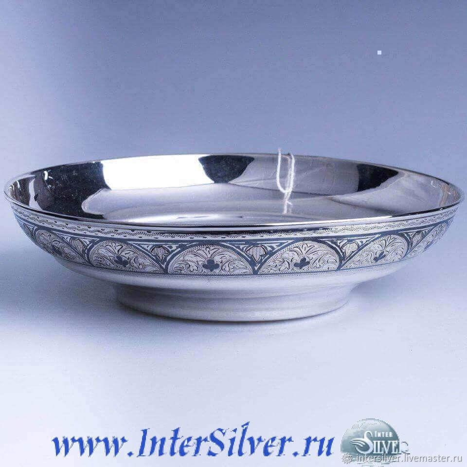 Тарелки ручной работы. Ярмарка Мастеров - ручная работа. Купить Тарелка из серебра «Кубачи». Handmade. Серебро, тарелка, серебряная тарелка