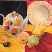 Картины ручной работы. Ярмарка Мастеров - ручная работа Натюрморт с чайником, тарелкой и фруктами. Handmade.