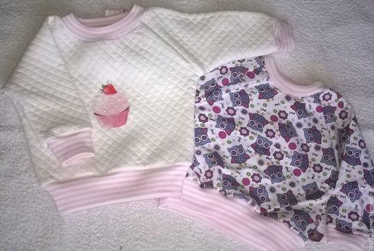 Одежда для девочек, ручной работы. Ярмарка Мастеров - ручная работа. Купить Теплый свитшот для девочки. Handmade. Разноцветный, трикотажный свитшот