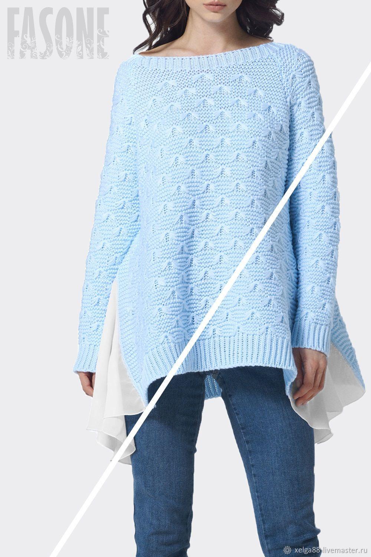 Jerseys: Women's blue sweater with chiffon, Sweaters, Prague, Фото №1