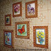 Картины и панно ручной работы. Ярмарка Мастеров - ручная работа Панно из бересты с картинками или вышивкой.. Handmade.