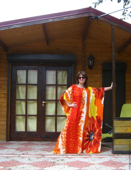 Пляжные платья ручной работы. Ярмарка Мастеров - ручная работа. Купить Пляжное платье оранжевое. Handmade. Желто-оранжевый