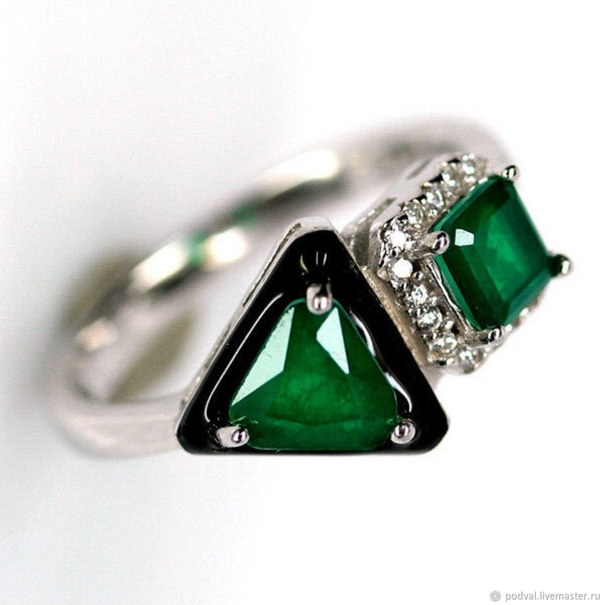 Silver ring, natural emeralds 'Geometry' (p 18), Rings, Korolev,  Фото №1