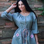 Одежда handmade. Livemaster - original item Grey cotton dress with hand embroidery