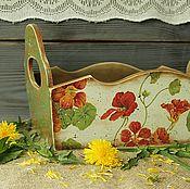 Короб большой  Настурция для лука,чеснока,овощей в стиле кантри
