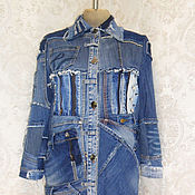 Одежда handmade. Livemaster - original item Denim women`s coat Boho hipster long jacket Fashionable jeans. Handmade.