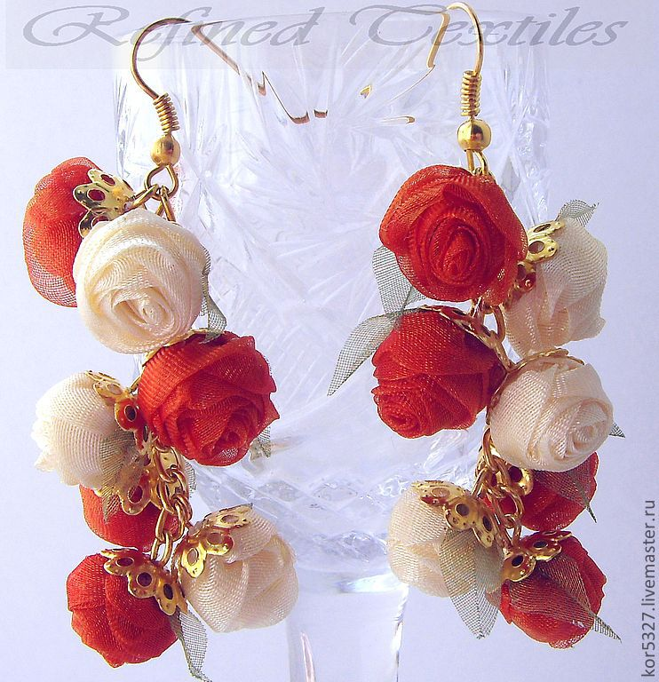 Solar wind. Earrings with flowers made of fabric, Earrings, Kabardinka,  Фото №1