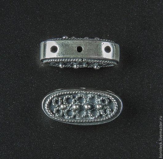 Для украшений ручной работы. Ярмарка Мастеров - ручная работа. Купить Бусина серебряная с тремя отверстиями ручной работы. Handmade.