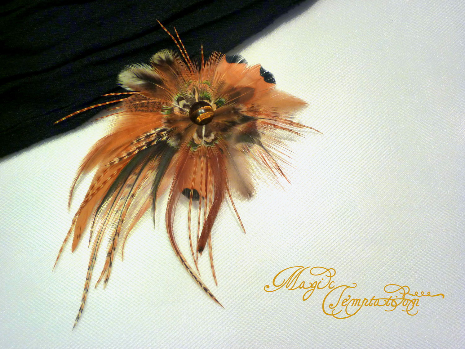 Barrettes handmade. Livemaster - handmade. Buy Brown hair clip brooch with feathers of the cock pheasant and wild.