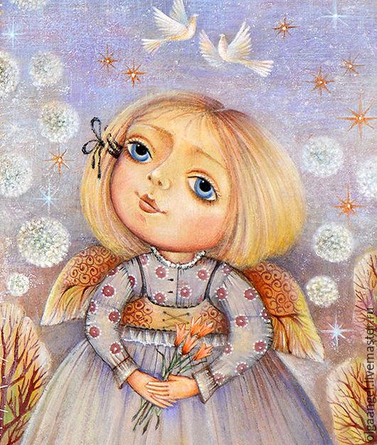 Фантазийные сюжеты ручной работы. Ярмарка Мастеров - ручная работа. Купить Девочка с тюльпанами. Handmade. Комбинированный, ангел, деревья, акварель