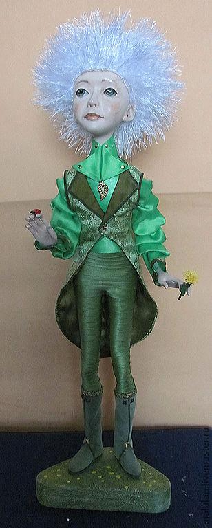 """Коллекционные куклы ручной работы. Ярмарка Мастеров - ручная работа. Купить Авторская кукла""""Мальчик-одуванчик"""". Handmade. Зеленый, приятный подарок"""
