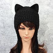Шапки ручной работы. Ярмарка Мастеров - ручная работа Шапка с ушками Кошка вязаная женская черная. Handmade.