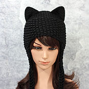 Аксессуары handmade. Livemaster - original item Hat with Cat ears knitted women`s black. Handmade.