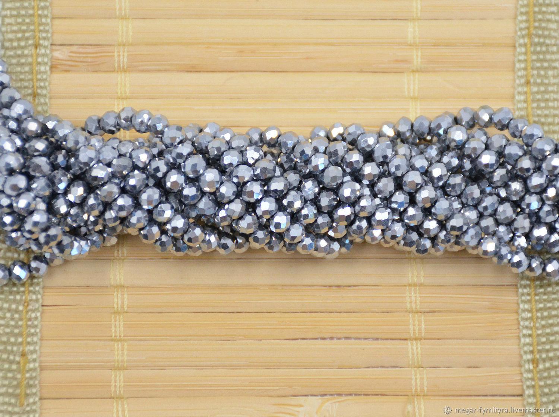 10 шт. Рондели 4х3 мм серебристый, Бусины, Колпино,  Фото №1