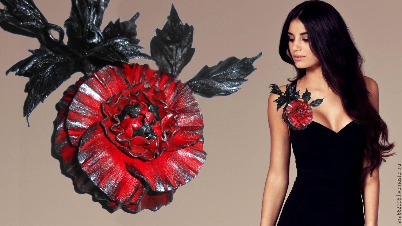 Кожаные украшения.Цветы из кожи. БРОШЬ КРАСНАЯ РОЗА. Кожаные цветы.Цветы ручной работы.купить брошь.Подарок.Украшение цветок.Заколка с цветком.Роза из кожи.Украшение женское.