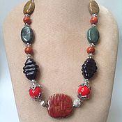 Украшения handmade. Livemaster - original item Necklace ceramic beads in ethnic style Red character.. Handmade.