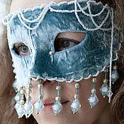 Одежда ручной работы. Ярмарка Мастеров - ручная работа Полумаска Голубой бархат. Handmade.
