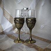 Посуда handmade. Livemaster - original item Wine glasses gift grace in bronze, 2 PCs. Handmade.