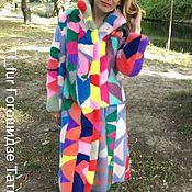 Шубы ручной работы. Ярмарка Мастеров - ручная работа Разноцветная авторская шуба из Меха норки. Handmade.