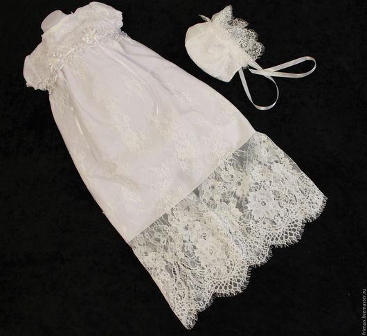 Крестильные принадлежности ручной работы. Ярмарка Мастеров - ручная работа. Купить Крестильное платье. Handmade. Белый, крестильный комплект