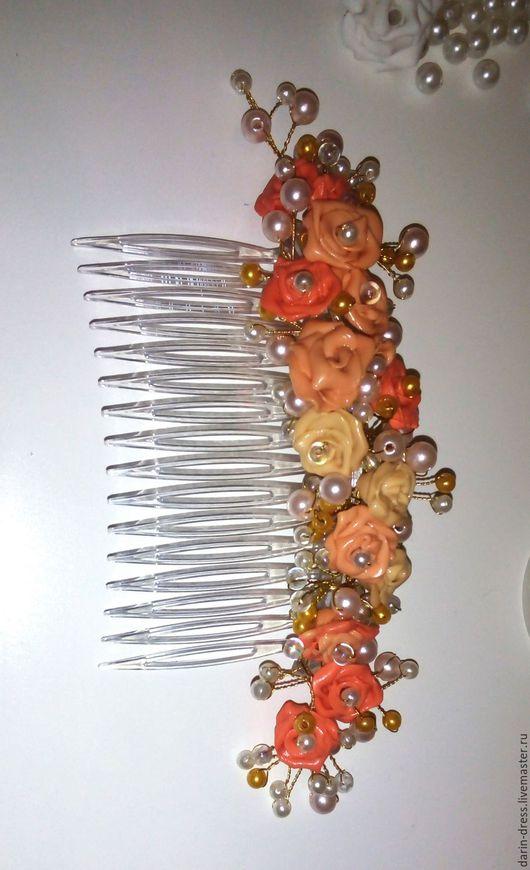 """Комплекты украшений ручной работы. Ярмарка Мастеров - ручная работа. Купить Гребень""""чайная роза"""". Handmade. Разноцветный, гребень для волос"""