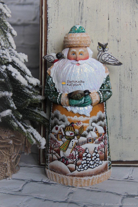 Дед мороз с пташками № 146 (деревянный резной расписной), Новогодние сувениры, Москва,  Фото №1
