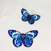 Нашивки ручной работы. Ярмарка Мастеров - ручная работа Аппликация на одежду «Бабочки» ,Люневильская вышивка ,в комплекте 2шт.. Handmade.
