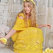 """Одежда ручной работы. Ярмарка Мастеров - ручная работа """"Цытрына""""вязаное крючком кружевное платье с ручной вышивкой лимоны. Handmade."""