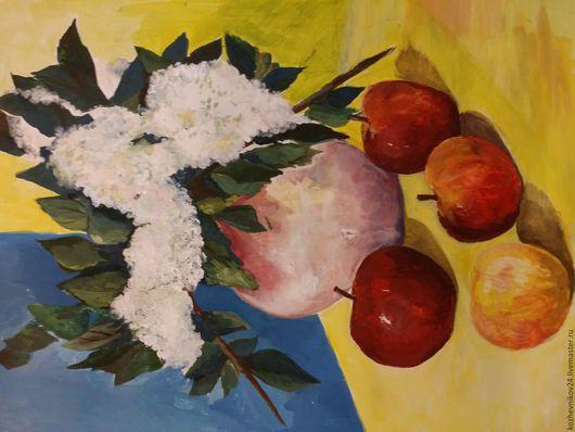 Натюрморт ручной работы. Ярмарка Мастеров - ручная работа. Купить Натюрморт с черёмухой и яблоками. Handmade. Ярко-красный, черемуха