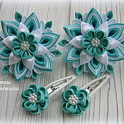 Работы для детей, handmade. Livemaster - original item Scrunchie Mint tenderness in the technique of kanzashi. Handmade.