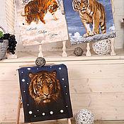 Для дома и интерьера handmade. Livemaster - original item A set of towels made of matting with tigers