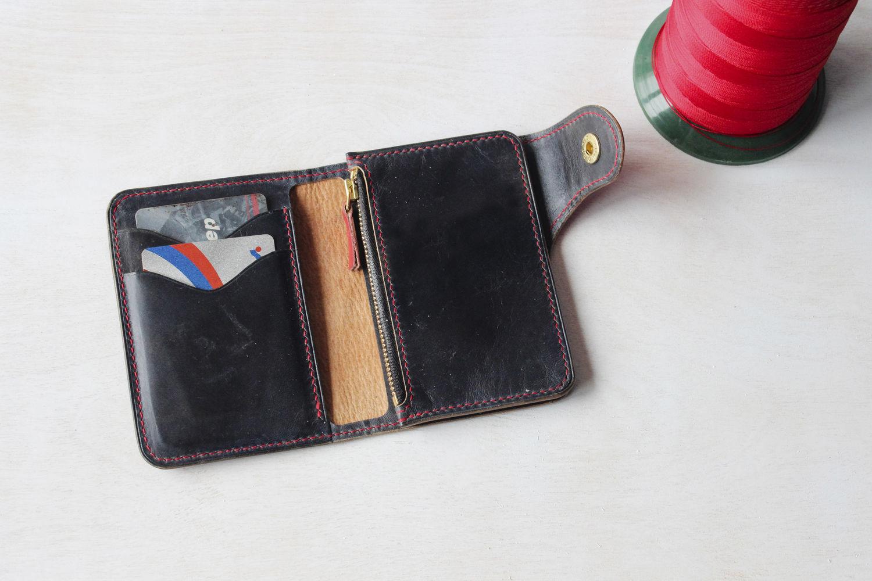 Синий кожаный кошелек для мужчины, Кошельки и визитницы, Ставрополь, Фото №1