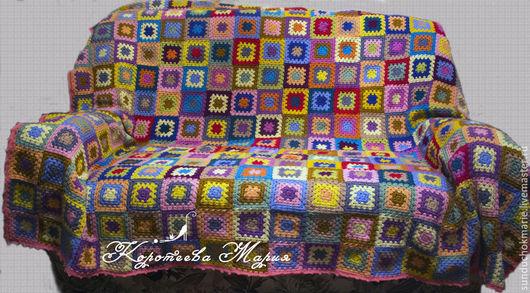 Текстиль, ковры ручной работы. Ярмарка Мастеров - ручная работа. Купить Плед из мотивов 2. Handmade. Разноцветный, плед из мотивов