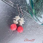 """Украшения ручной работы. Ярмарка Мастеров - ручная работа Серьги """"Морозное солнце"""" натуральный коралл. Handmade."""