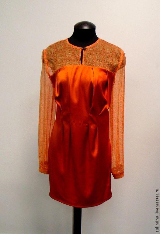 Платья ручной работы. Ярмарка Мастеров - ручная работа. Купить Платье оранжевое леопардовое АПЕЛЬСИНОВЫЕ РЕКИ. Handmade. Оранжевый